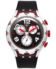 Swatch Unisex Swiss Chronograph Red Wheel Black Silicone Strap Watch 44mm YYS4004