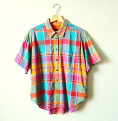 Vintage Rainbow Plaid Button Down / Summerweight Cotton Chambray Blouse / Bold Colorful Oversized Blouse by thehappyforest on Etsy