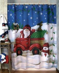 To complete bathroom decoration, you will need a Christmas shower curtains too and below I have for you 18 incredible Christmas bathroom curtains. Christmas Bathroom Decor, Christmas Shower Curtains, Bathroom Decor Sets, Bath Decor, Bathroom Ideas, Christmas Crafts To Make, Christmas Home, Christmas Stuff, Merry Christmas