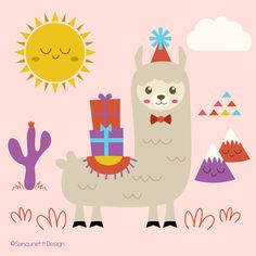 Fun illustration with the party Llama available at Sanqunetti Design.