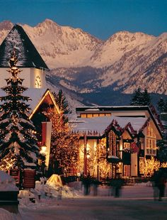 Vail, Colorado. Wow this looks like one of those Christmas Villages that people construct into sceneries at the Christmas stores. Where the kids ice skating and the train encircling the entire village? lol