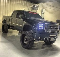 Lifted Black GMC Sierra Truck