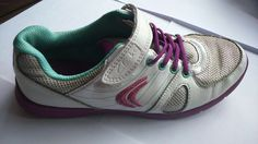 Girls White Purple Part Leather Lace Velcro Clarks Casual Flat Trainers UK 1 G