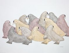 Untitled (Herd of Walruses) by Tim Pitsiulak Artist from Cape Dorset