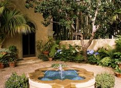 A classic Spanish-style courtyard  with the traditional pool. While most of the plantings are influenced by Mediterranean style, the hydrangeas prove it's possible to add some of your favorite plants, even if they aren't quite authentic.