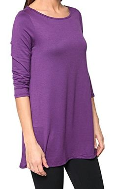 78d844644a4ea Free to Live Women s Flowy Elbow Sleeve Jersey Tunic Blouse Top Made in USA  (Medium