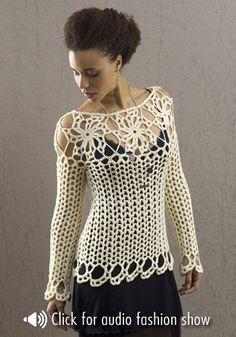 crochelinhasagulhas: Blusa branca com manga longa em crochê