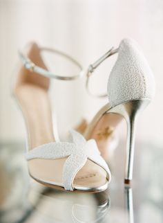 White beaded ankle strap stilettos: Photography: Justin DeMutiis - http://justindemutiisphotography.com/