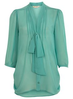 Recent addition to the wardrobe: Mint, chiffon pussybow blouse -by  Miss Selfidge