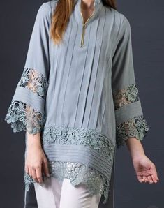 Tops For Women chinese collar dad shirts – moiliky Kurti Sleeves Design, Sleeves Designs For Dresses, Kurta Neck Design, Dress Neck Designs, Sleeve Designs, Blouse Designs, Pakistani Fashion Casual, Pakistani Dresses Casual, Pakistani Dress Design