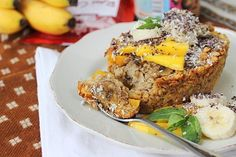 Squidgy just they way they should be - Baked Mango and Banana Oats with white cashew butter and cacao nibs!