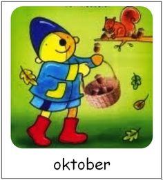 Oktober | Pompom maanden Winnie The Pooh, Seasons, Disney Characters, School, Pom Poms, Pictogram, October, Winnie The Pooh Ears, Seasons Of The Year