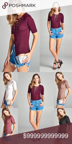🌼 3/4 Sleeve Lace Up Bodysuit Strappy Lace Up Bodysuit. Red Wine 3/4 Length Sleeve.                                               Fabric content: Rayon/Spandex WILA Tops