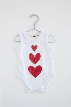 Bodysuits – Three Hearts Baby Bodysuit / Hand drawn baby bodysuit with three red hearts for your baby / made of pure cotton – a unique product by twodotsshop via en.DaWanda.com