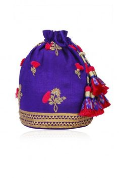 Tisha Saksena Purple Floral Embroidered Potli Bag #happyshopping #shopnow #ppus