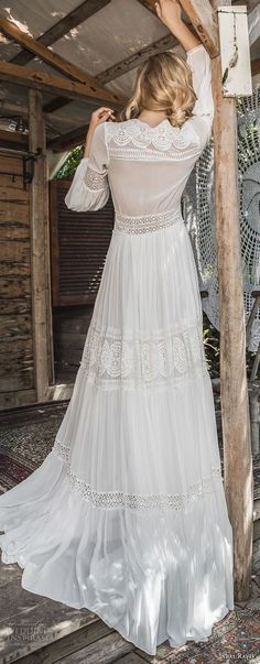 inbal raviv 2017 bridal long sleeves deep v neck full lace embellishment bohemian soft a  line wedding dress sweep train (mila) bv -- Inbal Raviv 2017 Wedding Dresses