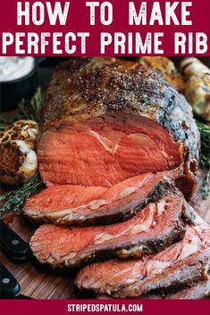 Slow Roasted Prime Rib : Perfect Prime Rib every time? This reverse-sear, slow roasted prime rib is a showstopper holiday dinner recipe. It's juicy, tender, and easy to make! Prime Rib Recipe Oven, Ribs Recipe Oven, Cooking Prime Rib, Green Egg Prime Rib Recipe, Prime Rib In Oven, Rib Roast Cooking Time, Best Prime Rib Recipe Ever, Slow Cooker Prime Rib, Prime Rib Roast Recipe Bone In