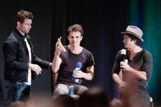 Daniel Gilles stopping by Paul & Ian' s TVDVEGAS Panel 9-13-14 to give Paul a banana