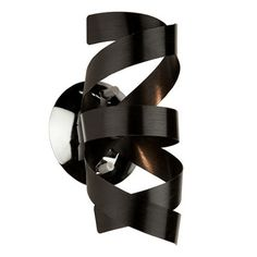 """ARTCRAFT Bel Air W Metallic Black Modern/Con at Lowe's. The """"Bel Air"""" Collection, features a chrome interior cluster, and chrome plated arms that hold beautiful brushed aluminum swirls. Truly a stunning and Black Wall Sconce, Rustic Wall Sconces, Candle Wall Sconces, Wall Sconce Lighting, Multi Luminaire, Luminaire Mural, Logan, Sconces Living Room, Contemporary Wall Sconces"""