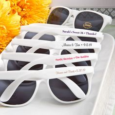 Personalized Party Sunglasses, White Sunglasses, Beach Party Favors, Summer Wedding Favors, Summer P Beach Party Favors, Beach Wedding Favors, Wedding Favors For Guests, Wedding Gifts, Wedding Ideas, Wedding Stuff, Wedding Planning, Wedding Table, Wedding Ceremony