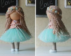 Art doll handmade blonde yellow pink color от AnnKirillartPlace