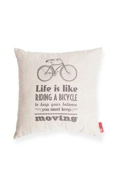 Bicycle Life Decorative Linen Throw Pillow