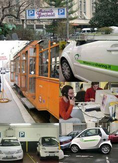 밀라노카쉐어링. 밀라노는 개인 차량 증가에 의한 교통체증과 대기오염, 부족한 주차공간 때문에 골머리를 앓고 있다. 그러는 가운데 카쉐어링을 생각하게 되었다. 이는 셀프 렌터카 서비스로, 복잡한 절차없이 자동차를 이용하며 돈을 절약할 수 있는 시스템이다. 이 서비스는 필요할 때마다 쉽게 차를 이용할 수 있는 장점으로 복잡한 도시 통근 문제의 해결책으로 떠오르고 있다. 카 쉐어링의 가장 큰 목표는 자동차는 지위의 상징이 아니며, 필요할 때에만 자동차를 이용해야 한다는 것을 대중에게 알리는 것에 있다. 한국에 카쉐어링이 만약 생긴다면 아마 이름은 누비자일 것 같다.
