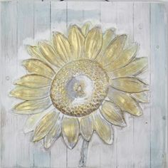 Tablou din lemn pictat manual, Sunflower, 50x50 cm