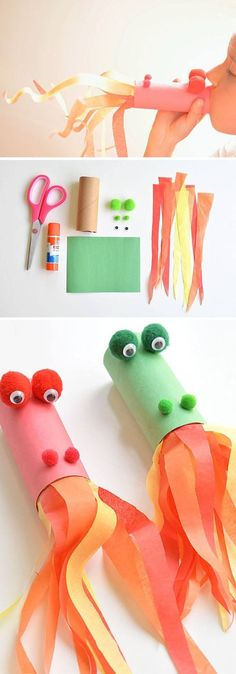 Toilet Paper Roll Crafts - Get creative! These toilet paper roll crafts are a great way to reuse these often forgotten paper products. You can use toilet paper rolls for anything! creative DIY toilet paper roll crafts are fun and easy to make. Toddler Crafts, Preschool Crafts, Fun Crafts, Arts And Crafts, Preschool Education, Toddler Art, Preschool Learning, Fun Learning, Art Education