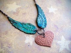 STEAMPUNK - Verdigris Patina Wing Pendant Copper Hammered Heart Necklace