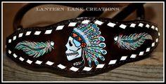 Tie down noseband, buckstitched, Indian Chief Skull