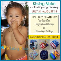 Mami's 3 Little Monkeys: Kissing Blake - 2 Hybrid Fitted (one daytime & one overnight) Cloth Diapers ($65ARV) Giveaway! US/CA 8/