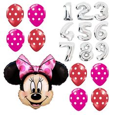 Girl Birthday Party Supplies Minnie Mouse Giant Numbers Foil pink red Balloons #Anagram #BirthdayChild