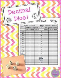 Decimal dice is an engaging dice game that is similar to the game of Yahtzee! Math 5, Math Fractions, Math Games, Teaching Math, Math Activities, 4th Grade Classroom, 5th Grade Math, Decimal Conversion, Math Tubs