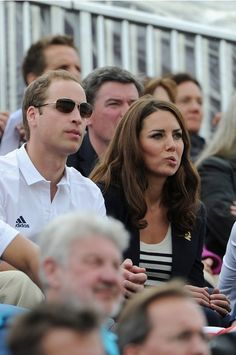 LONDON, ENGLAND - JULY 31:  Prince William, Duke of Cambridge and Catherine, Duchess of Cambridge look on during the Show Jumping Eventing Equestrian on Day 4 of the London 2012 Olympic Games at Greenwich Park on July 31, 2012 in London, England.