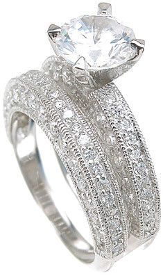 1.75 Carat TW Solitaire Brilliant Cut CZ Wedding Ring Set in Sterling Silver