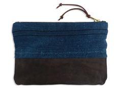 Indigo & Leather Pouch