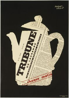 Herbert Leupin, - (1955)Tribune de Lausanne Poster.