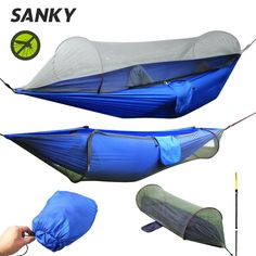 Multiuse Portable Hammock Camping Survivor Hammock with Mosquito Net Stuff Sack Multiuse 200kg Load-Bearing Portable Hammock Camping Survivor Hammock with Mosquito Net Stuff Sack 70D parachute nylon material,strong,breathable,soft and quick d...