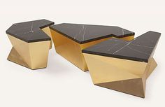 Ensemble (76-0335), a monumental coffee table design featuring three individual geometric sections, an antique base, topped with marble. The three elements can be used apart or slotted together. It is one of the 80 new pieces that will make a debut in Salone...