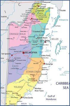 Master Map Of The Belize Maya Sites Belize Pinterest Belize - Belize political map