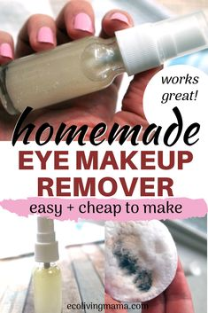 The best DIY eye makeup remover (easy natural beauty DIY)Homemade eye make-up remover couldn't be easier! This DIY version is made with completely natural ingredients (like witch hazel and aloe) and saves you money. Homemade Skin Care, Homemade Beauty Products, Diy Skin Care, Best Makeup Products, Eye Make-up Remover, Makeup Remover Pads, Make Up Remover, Best Eye Makeup Remover, Natural Makeup Remover