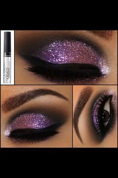 Ombré purple glitter eye make up