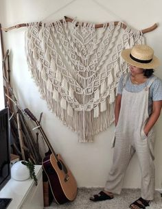 This extra large macrame wall hanging is a made-to-order piece by Hanifah in Sydney, Australia. Every piece has it's own individual character as you will never find the same wood branch the same. The wall hanging is perfect to create a focal point in your space and suited to hang on a free wall.   Measurements: Length approx 120cm Height 100cm