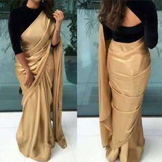 Golden Saree With Black Velvet Blouse - Image Of Blouse and Pocket Black Blouse Designs, Saree Jacket Designs, Saree Blouse Neck Designs, Blouse Patterns, Patiala, Churidar, Anarkali, Salwar Kameez, Kurti