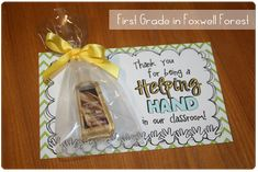 "Great volunteer thank you gift: ""Thank you for being a Helping Hand!"""