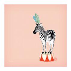 'Circus Zebra' Photographic Print by Lisa Rupp Zebra Illustration, Fine Art Prints, Framed Prints, Nursery Art, Nursery Design, Nursery Decor, Zebras, Animal Drawings, Art For Kids