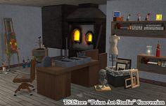 "Crisps&Kerosene sims ♦ ""Prism Art Studio"" objects converted for. Sims 2, The Sims Original, Hobby Room, Wall Shelves, Shelf, Decorative Objects, Art Studios, End Tables, Night Life"
