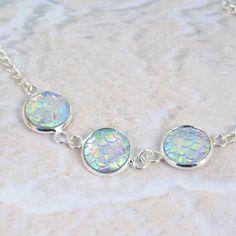 Mermaid necklace dragon scale necklace by BeadyBellaCinderella