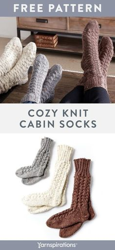 This cozy cabin socks knitting pattern includes a variety of sizes. Knit a pair . : This cozy cabin socks knitting pattern includes a variety of sizes. Knit a pair with Caron Simply Soft Tweeds for a classic look. Knitted Socks Free Pattern, Crochet Socks, Knitting Patterns Free, Knit Patterns, Free Knitting, How To Knit Socks, Knitted Slippers, Knitting Machine, Vintage Knitting